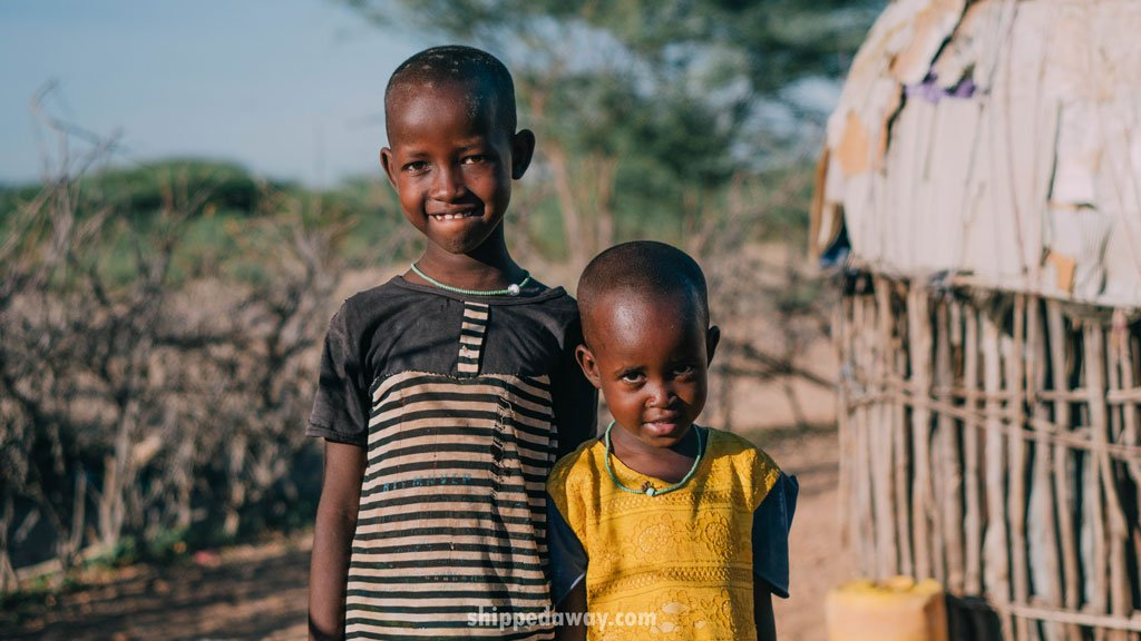 Two kids from the Maasai Samburu tribe in Kenya