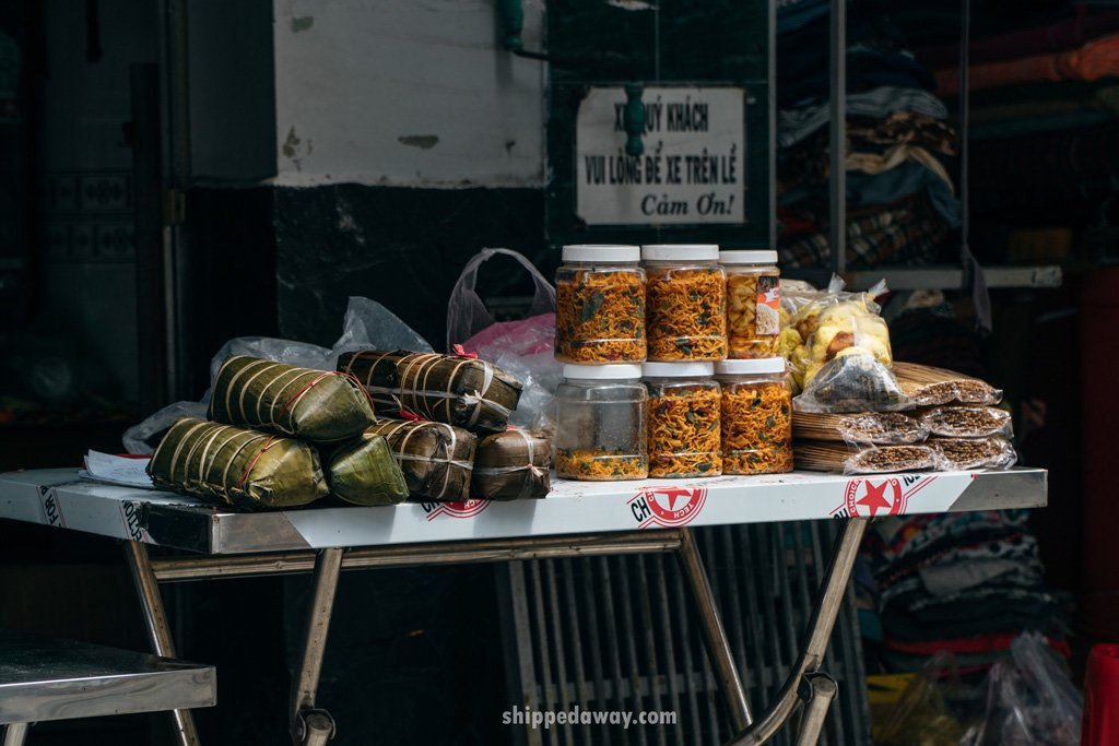 Bánh chưng traditional Vietnamese rice cake sold on the street for Vietnamese New Year, Tet
