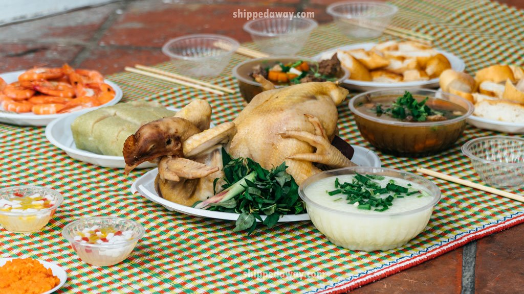 Cooked chicken prepared for Tet, Vietnamese New Year