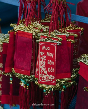 Red and yellow decoration for Tet, Vietnamese New Year
