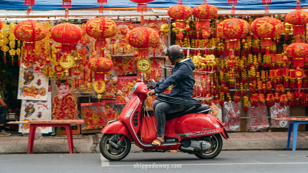 Decorations on a Nha Trang street market before Tet, Vietnamese New Year