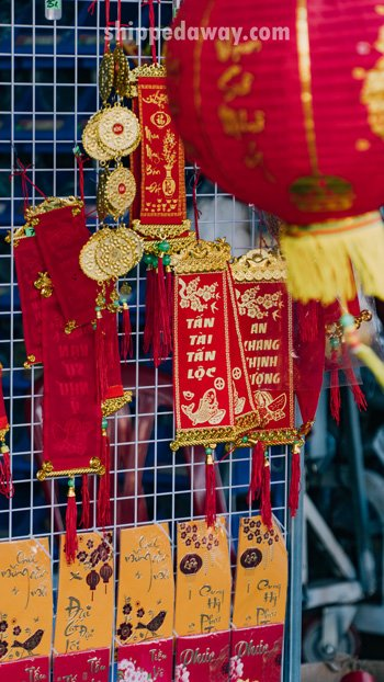 Red and yellow notes for Tet, Vietnamese New Year